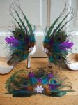 Bridal Curled Peacock Feathers Teal and Purple Shoe Clips SCB117